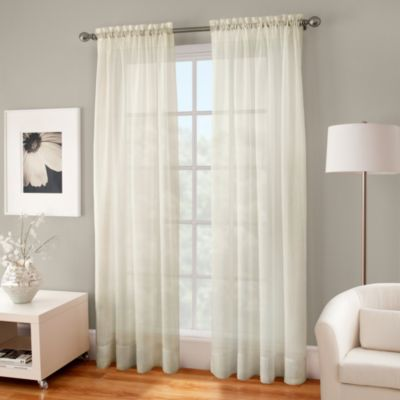Crushed Voile Sheer 84-Inch Rod Pocket Window Curtain Panel in Ivory