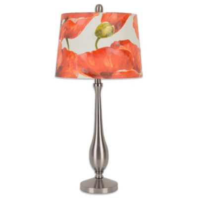 Brushed Steel Red Table Lamp