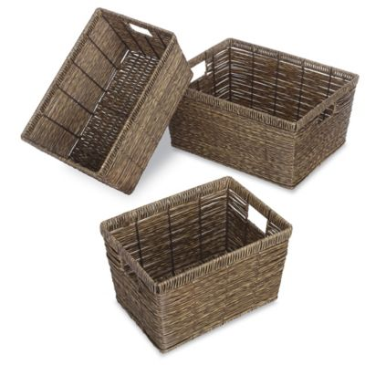 Rectangular Rattique Baskets (Set of 3)