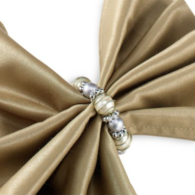 Beads and Pearls Silvertone Napkin Ring