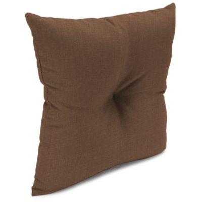 Outdoor 16-Inch Square Throw Pillow with Center Hector in Husk Texture Chocolate