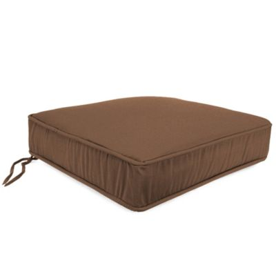21-1/2-Inch x 22-1/2-Inch Box Edge Chair Cushion in Husk Texture Chocolate
