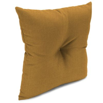 Outdoor 16-Inch Square Throw Pillow with Center Hector in Husk Texture Ginger