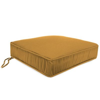22-1/2-Inch Boxed Edge Attached Chair Cushion in Husk Texture Ginger