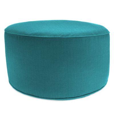 Round Pouf Ottoman in Sunbrella® Husk Texture Lagoon