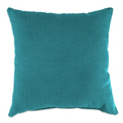Outdoor 16-Inch SquareThrow Pillow in Husk Texture Lagoon