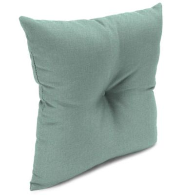 Outdoor 16-Inch Square Throw Pillow with Center Hector in Husk Texture Mist