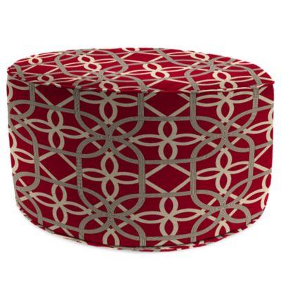 Sunbrella® Round Pouf Ottoman in Keene Cherry