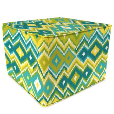 Sunbrella® Outdoor Square Pouf Ottoman in Marva Kiwi Splash