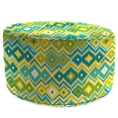 Outdoor 24-Inch Round Pouf/Ottoman in Marva Kiwi Splash