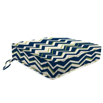 22-1/2-Inch Boxed Edge Attached Chair Cushion in Tempest Navy
