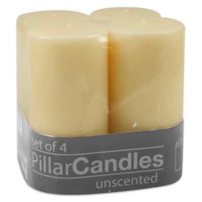 2-Inch x 4-Inch Unscented Pillar Candles in Ivory (Set of 4)