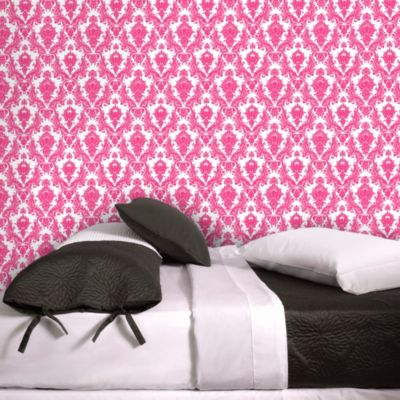 Tempaper® Double Roll Removable Wallpaper in Damsel White and Fuchsia