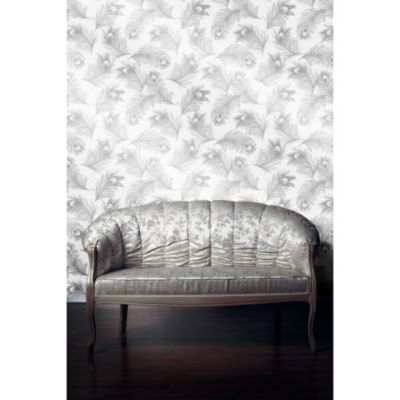 Tempaper® Removable Wallpaper in Feathers Silver Frost