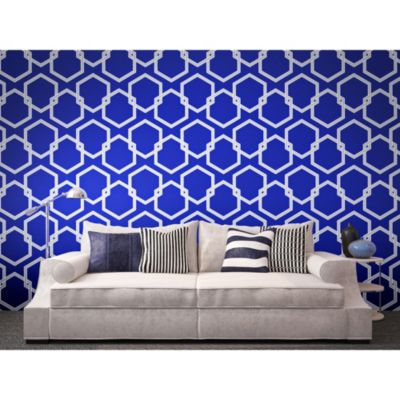 Tempaper® Double Roll Removable Wallpaper in Honeycomb Metallic Blue