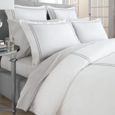 Wamsutta® Baratta Stitch MICRO COTTON® Twin Duvet Cover in Charcoal