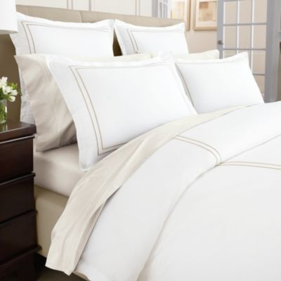 Wamsutta® Baratta Stitch MicroCotton® Twin Duvet Cover in Gold