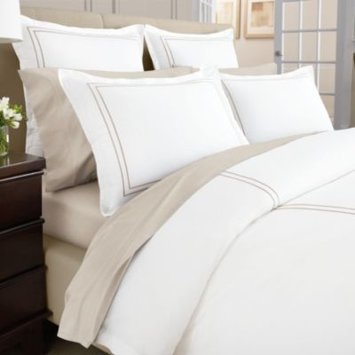 Wamsutta® Baratta Stitch MICRO COTTON® Full/Queen Duvet Cover in Taupe