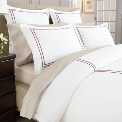 Wamsutta® Baratta Stitch MICRO COTTON® Twin Duvet Cover in Red