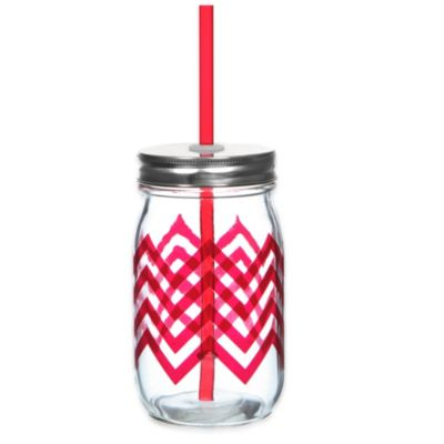 Red Chevron Stripe 13 1/2 oz. Mason Jars with Lid and Straw (Set of 6)