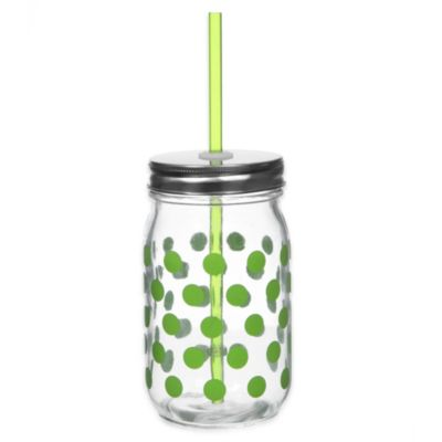 Lime Dot 13 1/2 oz. Mason Jars with Lid and Straw (Set of 6)
