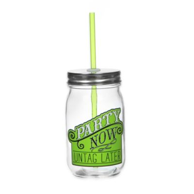 Party Now, Untag Later 13 1/2 oz. Mason Jars with Lids and Straws (Set of 6)