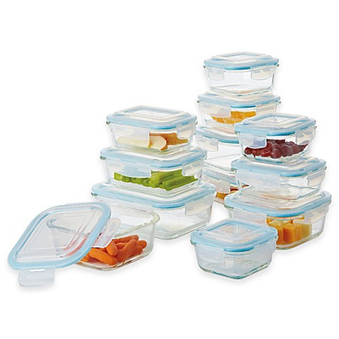 Pro glass 24 piece food storage set with easy snap lids for Bathroom containers with lids