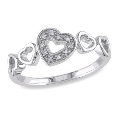 Sterling Silver .03 cttw Diamond Open Hearts Ring