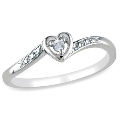 Sterling Silver .03 cttw Diamond Heart Size 5 Ring