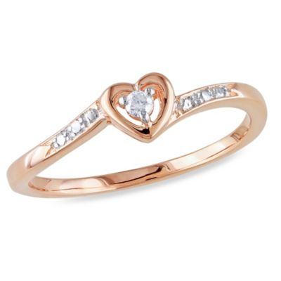 Rose-Plated Sterling Silver .03 cttw Diamond Heart Ring