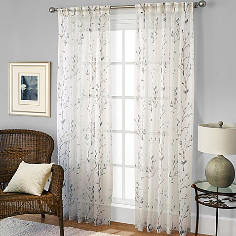Willow Print Window Curtain Panel In Blue