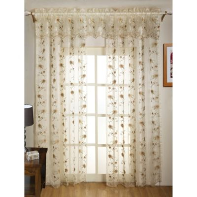 Madeline Sheer Embroidered 63-Inch Leaf Window Panel