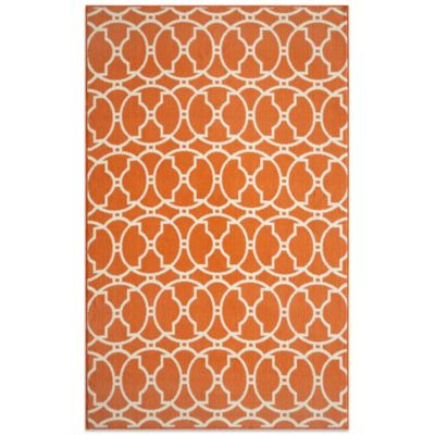 Momeni Baja Indoor/Outdoor 5-Foot 3-Inch x 7-Foot 6-Inch Rug in Orange