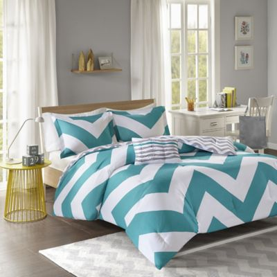 Libra Reversible Chevron Full/Queen Duvet Cover Set in Blue/White