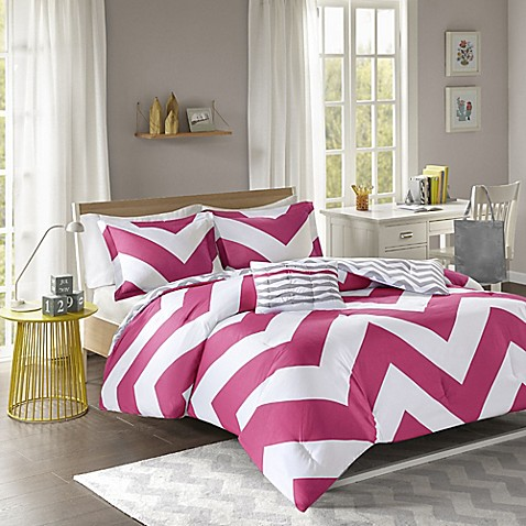 buy mi zone libra reversible chevron twin twin xl duvet cover set in pink white from bed bath. Black Bedroom Furniture Sets. Home Design Ideas