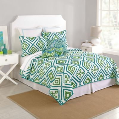 Trina Turk® Ventura Ikat Embroidered Quilt in Blue/Green