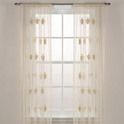 Fleur-De-Lis Sheer 84-Inch Window Curtain Panel in Ivory