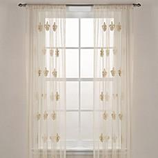 Fleur De Lis Sheer Window Curtain Panel In Ivory Bed