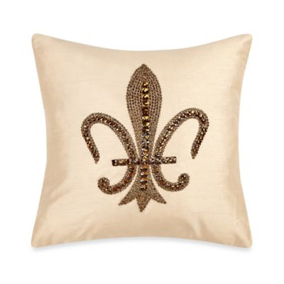 Fleur De Lis Embroidered Throw Pillow in Beige