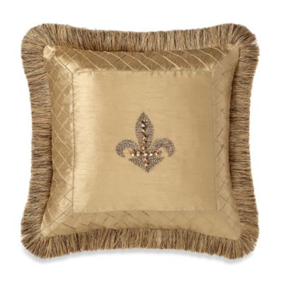Fleur-De-Lis Trimmed 18-Inch Square Throw Pillow in Gold