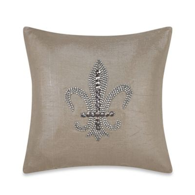 Fleur De Lis 16-Inch Square Embroidered Throw Pillow