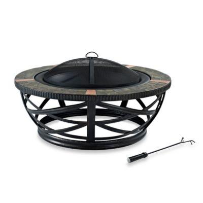 Crosley Glendale Round Slate Fire Pit in Black