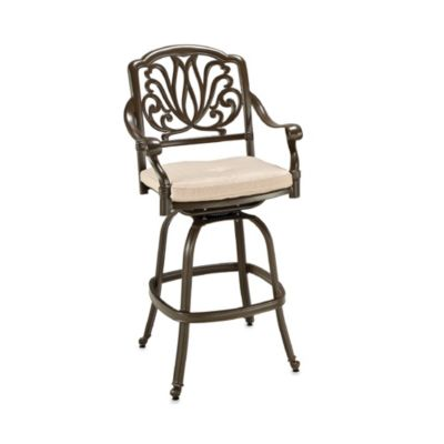 Home Styles Floral Blossom Outdoor Swivel Stool in Taupe