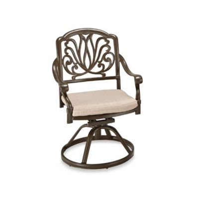Home Styles Floral Blossom Swivel Chair in Taupe