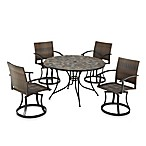 Home Styles Stone Harbor 5-Piece Outdoor Dining Set with Newport Swivel Chairs