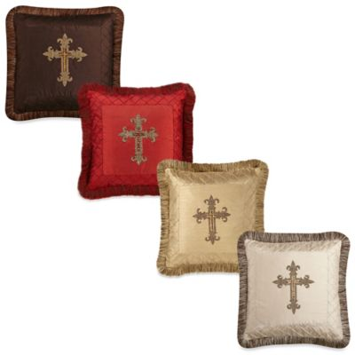 Cross Trimmed 18-Inch Square Throw Pillow in Chocolate