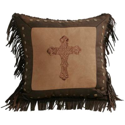 Embroidered Cross Faux Suede Throw Pillow in Dark Tan