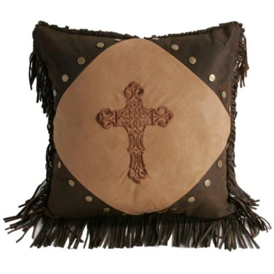 HiEnd Accents Embroidered Cross Faux Suede Throw Pillow in Dark Tan