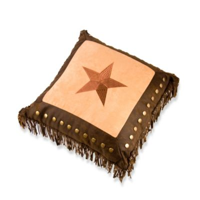 Embroidered Star Throw Pillow with Metal Studs and Fringe