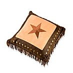 Embroidered Star Toss Pillow with Metal Studs and Fringe